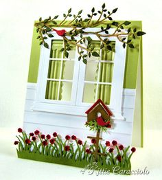 Spring Window and Birdhouse Love how Kitty created the look of siding, the drapes, and the finished window frame on the inside. Her attention to detail makes her work so stunning. Memory Box Cards, Karten Diy, Window Cards, Window Frames, Window Ideas, Die Cut Cards, Cute Cards, Cards Diy, Card Tags