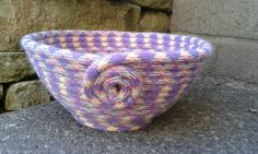 Upcycled climbing rope bowl size M. by HangingbyaFred on Etsy