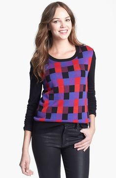 0a56f4ee159b17 Halogen Pattern Sweater Black Multi Squares Combo Large P from Nordstrom on  shop.CatalogSpree.