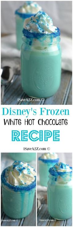Disney's Frozen Movie Inspired Recipe: White Hot Chocolate Recipe I've got one of the BEST White Hot Chocolate recipe on the planet! If you have a child that is in love with Disney's Frozen Movie then Yummy Drinks, Yummy Food, Healthy Drinks, Comida Disney, Disney Food, Disney Drinks, Disney Recipes, Hot Chocolate Recipes, Chocolate Smoothies