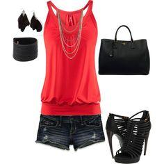 Outfit -- black flip flops