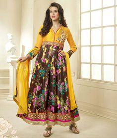 Bhagalpuri Silk Border Work Yellow & Brown Floral Print Semi Stitched Long Anarkali Suit - PA88