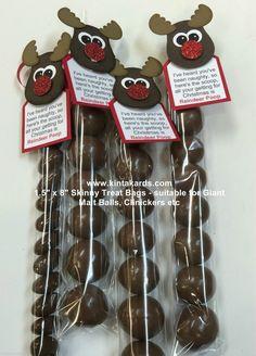 "Skinny Treat Bag Reindeer Poop Stampin Up Punch Art Kit - makes 4 - 1.5 ""x 8"" | eBay"