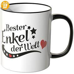 Wandkings® Tasse, Spruch: Bester Enkel der Welt - SCHWARZ - Tassen mit Spruch | Lustige Kaffeebecher (*Partner-Link)
