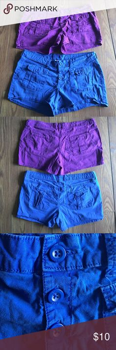 Arizona Purple and Blue Shorts Bundle Arizona purple and blue shorts bundle. Size 15. Worn condition but still in good shape. There is fading on color. Arizona Jean Company Shorts