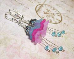 Long Lucite Flower Earrings Pink Blue Light Purple Multi-Color Victorian Style #Handmade #DropDangle