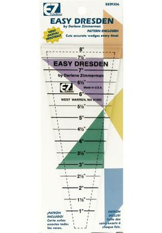 EZ Quilting Dresden Patchwork Rotary Cutting Template Ruler Pattern Included
