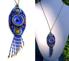 Sautoir lapis-lazuli perles brodées (vendu)