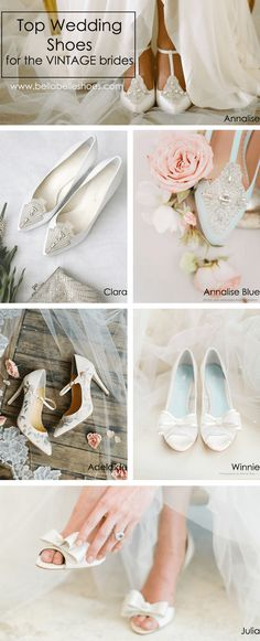 Our top vintage wedding shoes favorites for brides! Whether it be blue, white or ivory, Bella Belle collection includes wedding flats, heels and wedges with cute bows, low heels options, floral designs, lace and a touch of bling! Shop these beautiful vintage wedding shoes now for your dream wedding!