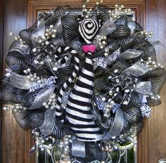 Deco Mesh SOPHISTICATED BLACK and SILVER Halloween by decoglitz