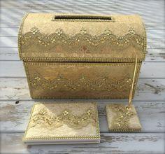 wedding card box, Money holder, envelope holder, moneybox, gold card box, guest book, signing book, gold box