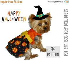 ON SALE Halloween Dog Dress SEWING Pattern  1603 by SofiandFriends