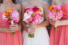 Bright colors for the bridesmaids' dresses and bouquets. Perfect for a spring or summer wedding!