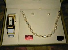Jewelry Set by Cote d' Azur Fresh Water Pearls Necklace Watch Earrings Gold NEW