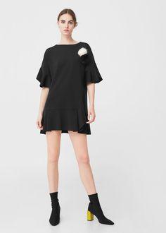 Ruffled dress | MANGO Ruffle Dress, Shirt Dress, T Shirt, Mango, Cold Shoulder Dress, Black And White, Sleeves, Clothes, Dresses