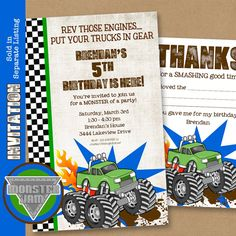 Monster Truck Party Printables Set - Birthday - by Amanda's Parties TO GO. $29.00, via Etsy.