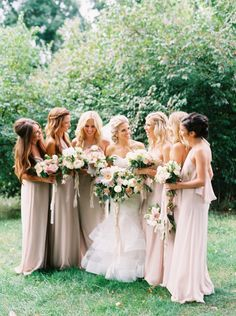 long elegant bridesmaid gowns in blush and taupe, by Nouvelle Amsale | LOVE this blush filled wedding |