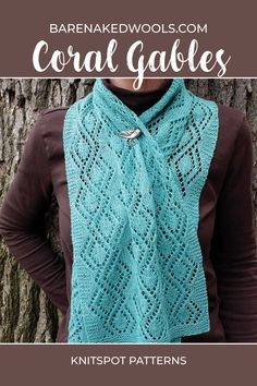 A semi-sheer scarf that derives its deco look from vertical lace panels of leaf-and-trellis. With lace work on right-side rows only, and wrong side rows all in purl, this makes a great beginning lace knitting project, or a quick gift knit Beginner Knitting Patterns, Lace Knitting Patterns, Knitting For Beginners, Knitting Projects, Coral Gables, Stockinette, Crochet Top, Easy, Sweaters