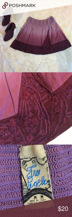Free People Elastic Waist LaceEmbroideryMiniSkirt Pre-owned in excellent condition Free People Lavender/Burgundy Elastic Waist Lace Embroidery Mini Skirt   Type: Skirt Style: Mini Brand: Free People Materials: 100% Cotton Country of Manufacturer: India Free People Skirts Mini