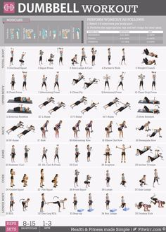 19 X 27 Dumbbell workout for poster women. New to working out and have a pair of dumbbells, this exercise poster contains everything you need to reach your fitness goal. Available now with free… Fitness Workouts, Zumba Fitness, Sport Fitness, Body Fitness, Fitness Motivation, Weight Lifting Workouts, Free Weight Arm Workout, Fitness Tips, Weight Lifting At Home