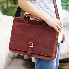 "Vintage Handmade Crazy Horse Leather Briefcase / Messenger / 14"" Laptop 15"" MacBook Pro Bag"