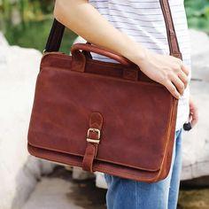 """Vintage Handmade Crazy Horse Leather Briefcase, Messenger, 14"""" Laptop / 15"""" MacBook Pro Bag in Old Reddish Brown"""