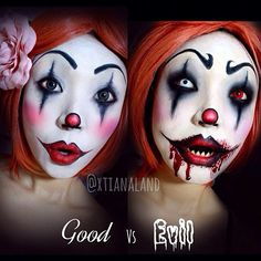 "#ShareIG ""GOOD vs EVIL #clown makeup :) I used @lagirlcosmetics HD pro primer in white & black for the face and eyes, as well as their gel liner kit (comes with a brush which I really like!) "" @xtianaland Amazing clown make up! Which clown do you like?!"
