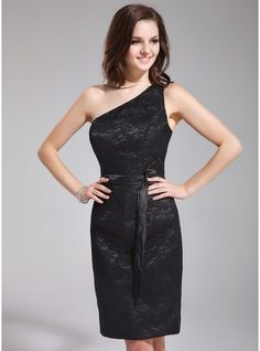 Sheath/Column One-Shoulder Knee-Length Lace Bridesmaid Dress With Sash