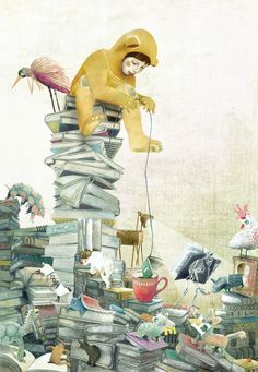 Living In A World Full Of Books Expands Our Horizons, Our Imagination, Our Knowledge Mark Ryden, Pablo Picasso, Kids Prints, Children's Book Illustration, Doodles, Love Art, Illustrators, Fantasy Art, Watercolor Paintings