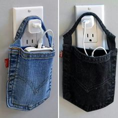 DIY Phone Charging Holder! Use an old pair of jeans, cut out the back pockets, cut a horizontal line between the seams. Make sure you dont cut the seam though. Lol