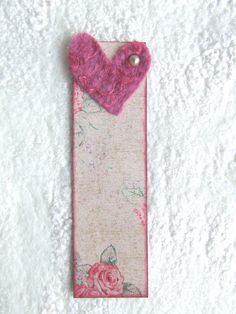 Pink heart bookmark.