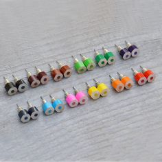 Color Pencil Ear Studs, the Hexagon Version in Candy Colors Handmade in England by Huiyi Tan Recycled Jewelry, Resin Jewelry, Jewelry Shop, Jewelry Crafts, Handmade Jewelry, Jewelry Design, Jewelry Making, Unique Jewelry, Jewlery