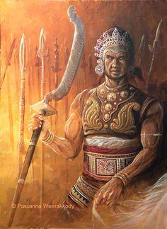 "Sinhala Warrior with an ""Angam kettha"""