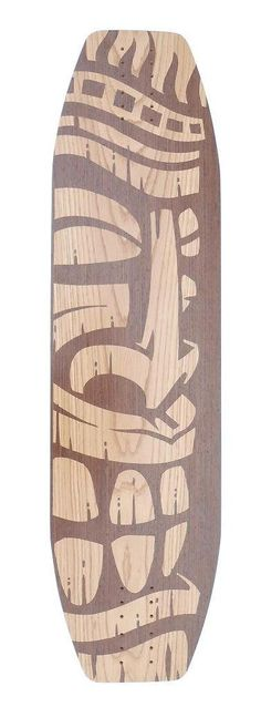 Haole Longboard skateboard with Tiki design inlaid by HaoleBoards, $149.00