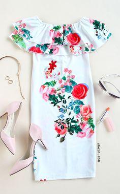 Multicolor Floral Ruffle Off The Shoulder Sheath Dress