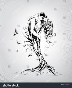 Find Silhouette Lovers Tree stock images in HD and millions of other royalty-free stock photos, illustrations and vectors in the Shutterstock collection. Thousands of new, high-quality pictures added every day. Tattoo Sketches, Art Sketches, Art Drawings, Kunst Tattoos, Body Art Tattoos, Angel Drawing, Tattoos For Lovers, Angel And Devil, Mermaid Tattoos
