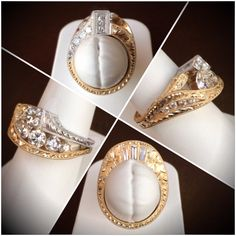 Ladies Two Tone White & Yellow Gold, Diamond Fashion Ring with Hand Engraving Throughout. #JewelerByDesign