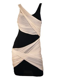 Alice & Olivia Black and Nude Shelly Crossover Drape Dress