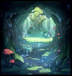 "Background painting for ""Gravity Falls"" 2"