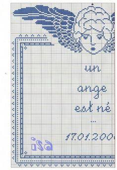 un ange est ne part 2 Cross Stitch Angels, Cross Stitch Baby, Monochrome, Stitch 2, Cherub, Blackwork, Free Pattern, Bullet Journal, Quilts