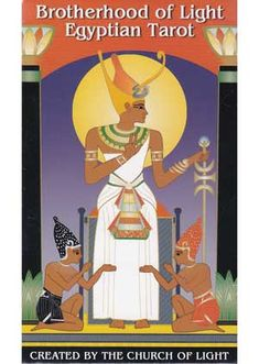 Brotherhood of Light Egyptian tarot deck by Church of Light Exploring the relationship between the Tarot, Kabala, astrology, and numerology, this fantastic tarot deck combines these qualities with symbolism born of Ancient Egypt. Originally designed in 1936, they were created in a black and white design. Now however, they have been redesigned in full-color in a manner that brings the Egyptian tarot cards to life with a renewed vigor. Containing the 78 cards.