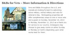 FREE bed and breakfast for military - FREE 1 night stay on November 11 for active duty, retired military and vets!