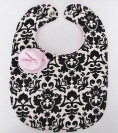 Baby girl bib  Black and white damask  Rosette baby bib by FHJBaby, $14.00
