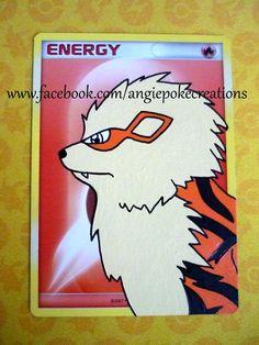 Peinture Pokemon Arcanin sur carte énergie Feu :)