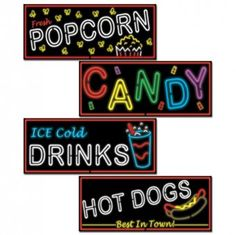 Neon Food Sign Cutouts - 80's Party Decoration Ideas
