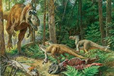 Illustration for the article Rise of the Tyrannosaurs in Scientific American by James Gurney Dinosaur Facts, Dinosaur Age, The Good Dinosaur, Dinosaur Fossils, Feathered Dinosaurs, All Dinosaurs, Prehistoric Creatures, Prehistoric Age, Beast