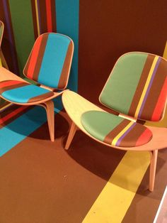 This @CarlHansen_NYC design features the wing chair & rainbow pinstripe #PaulSmithcelebratesWegner #isalone2014