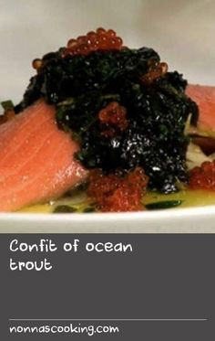 Tetsuya shares the recipe for his signature confit of ocean trout, adapted so it's easily achievable at home. The oil is spiked with garlic, thyme, basil and coriander seeds for delicious results. Shellfish Recipes, Seafood Recipes, Confit Recipes, Trout Recipes, Coriander Seeds, Shake Recipes, Fish And Seafood, Fennel, Basil