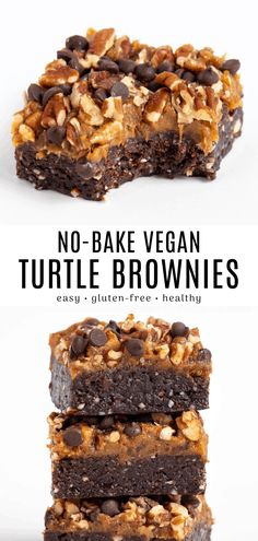 These no bake turtle brownies are an easy dessert recipe! It's vegan, gluten-free, and contains no refined sugar. Enjoy a soft and chewy raw brownie topped with caramel, pecans, and chocolate chips. #fromscratch #easy #vegan #nobake #glutenfree #chocolate #caramel #pecans