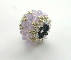 Beading4perfectionists: Beaded bead with Swarovski and miyuki beading turorial (Item ID: 326217, End Time : N/A) - DIY Lessons - Learn Jewelry Making With Online Lessons, Videos and PDF Tutorials